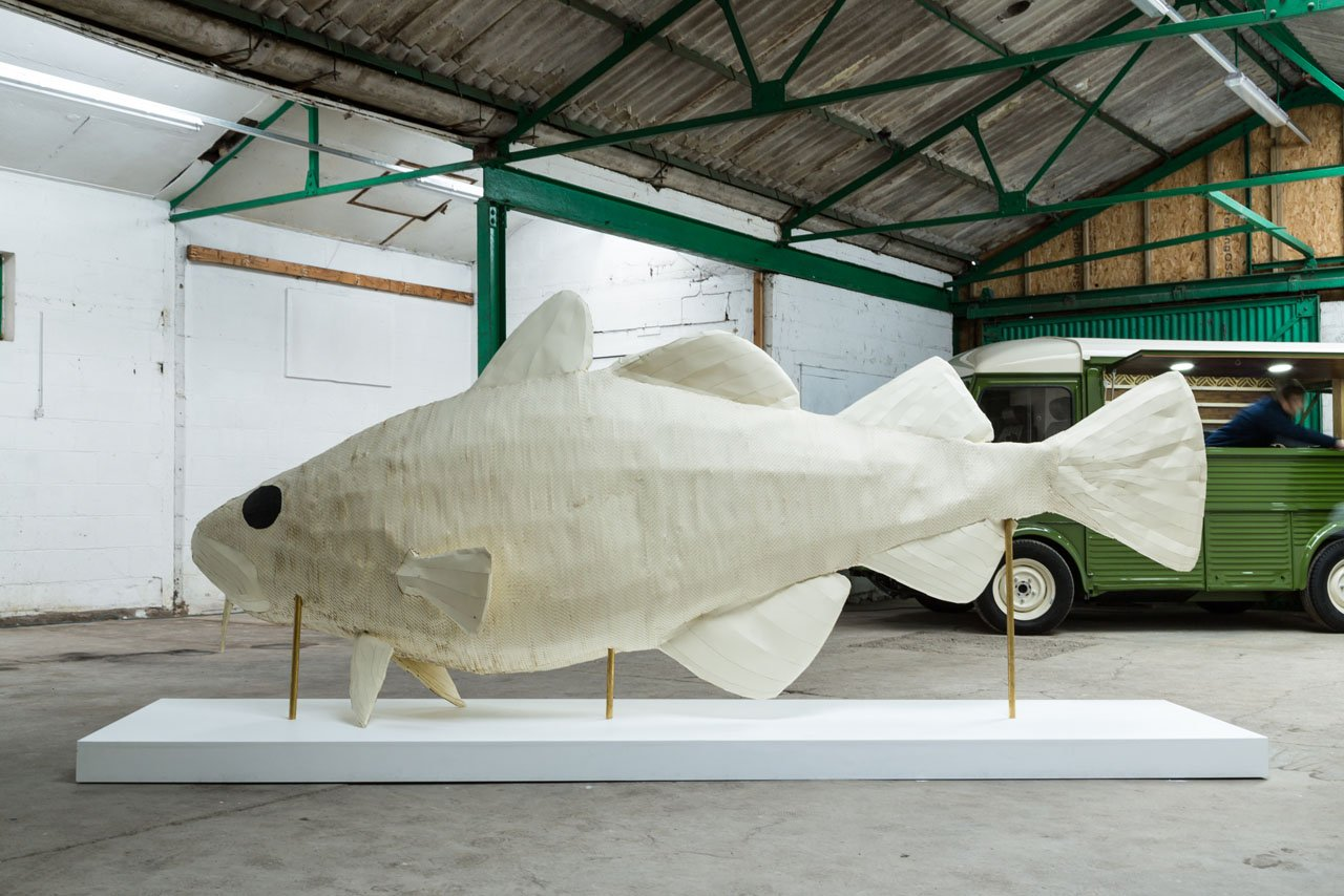 Large scale paper fish sculpture for the City of Culture. Public art sculpture using GF Smith paper for Hull City of Culture