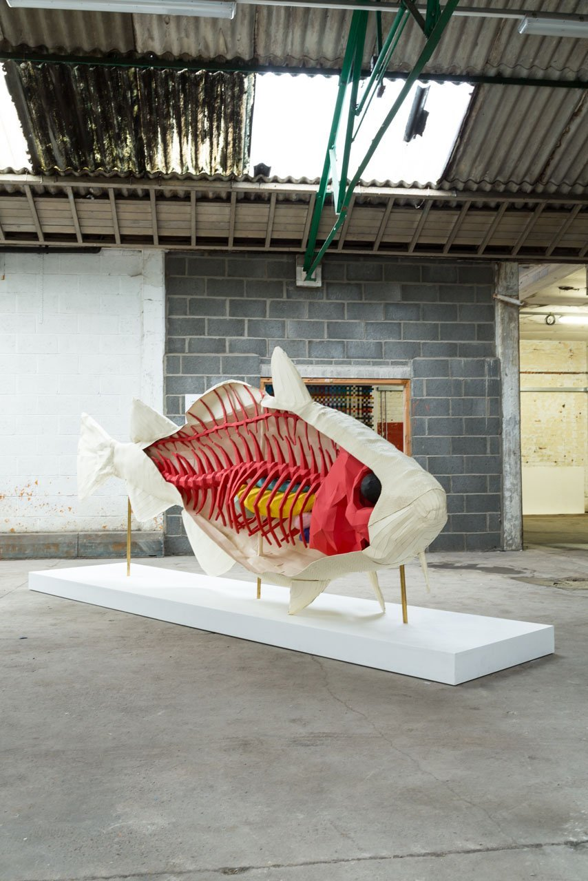 A paper fish sculpture showing a fish and its skeleton made from coloured paper. The ribs are made from red paper, and other internal organs in yellow and blue. Created by design studio Lazerian for Hull- City of Culture