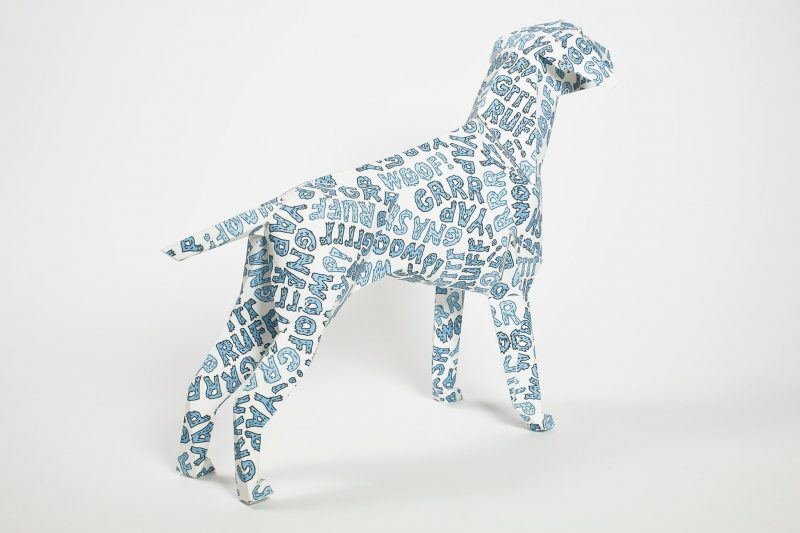 White paper dog model. Part of an exhibition by Lazerian