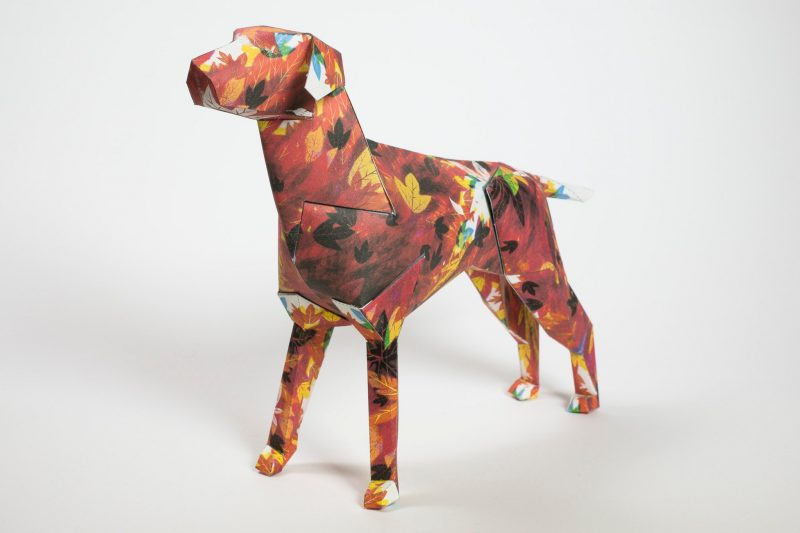 A paper dog model in 3D sculpture form. The dog has a design all over it that is inspired by Autumn. It is civered in colourful autumn leaves in reds, browns and occasional yellow leaves. Part of an exhibition by leading design studio Lazerian. The paper dog is the companies mascot and they decide to ask artists and designers to palce their own creations and designs onto the models. This dog was designed by popular artist and illustrator Guy McKinley.