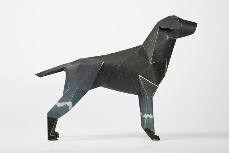 Side view of a paper dog model. The mascot of design studio Lazerian. A project to get designers and artists to customise the dogs was launched by Lazerian. This design is from Jack Hughes and is a dark blue dog with mountain top illustrations on the dogs legs.
