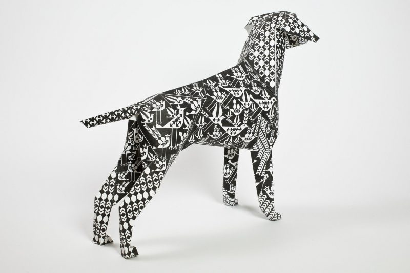 Paper dog from design studio Lazerian. Covered in a black and white pattern