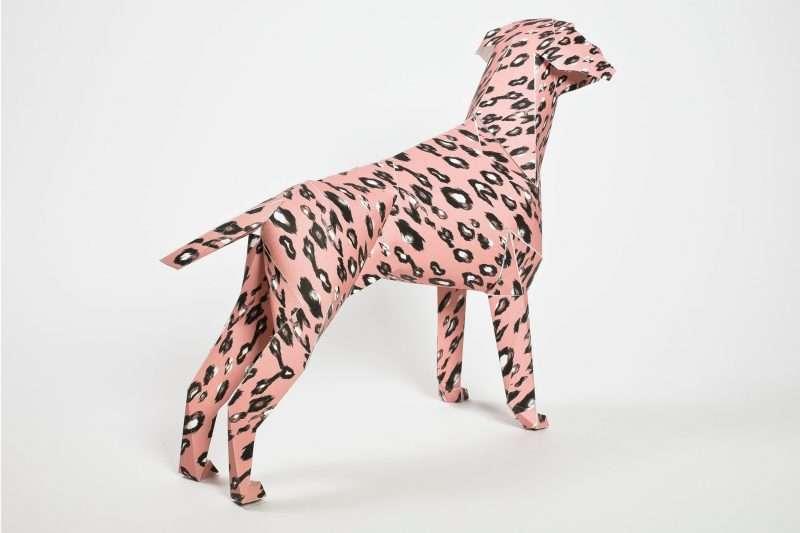 Pink leopard print paper dog model
