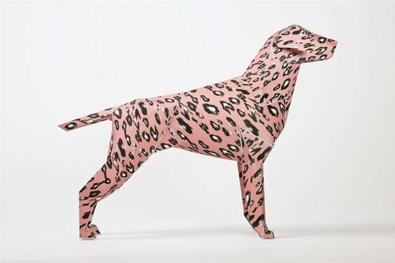 A pink leopard print paper dog 3D model