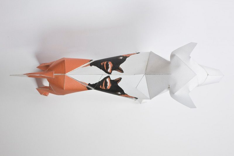 Over head view of a paper dog that has 3 wolf faces drawn on it