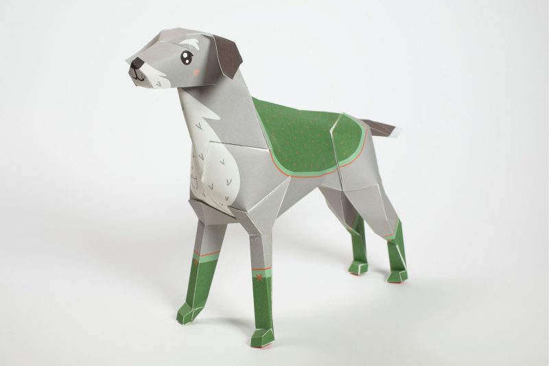 3D paper dog model with a design on it to make it look like a old general with medals on his coat