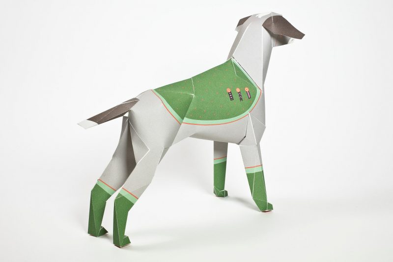 3D model of a paper dog with a drawn design making it look like a old vintage style general from the army.