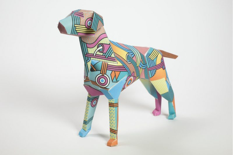Paper dog model by design studio Lazerian No 90 in a series of 10 designed by Supermundane1