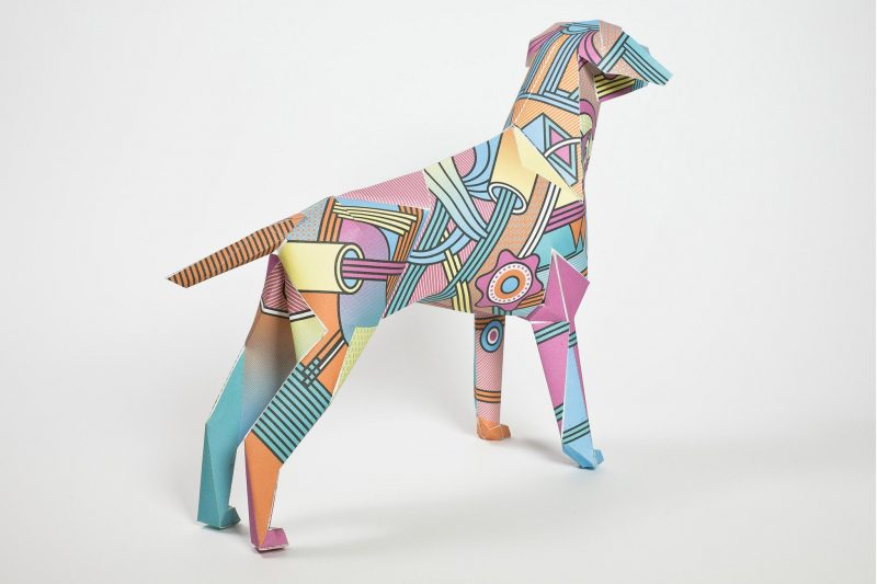 Paper dog model called Gerald by design studio Lazerian. Number 90 in a series of 101. Pattern by Supermundane