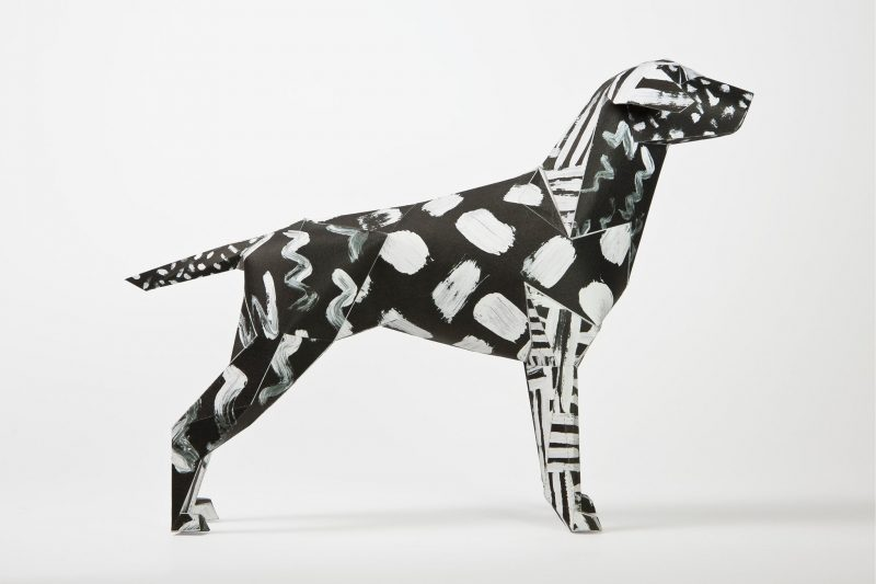 Paper dog model as part of a art exhibition by design studio Lazerian