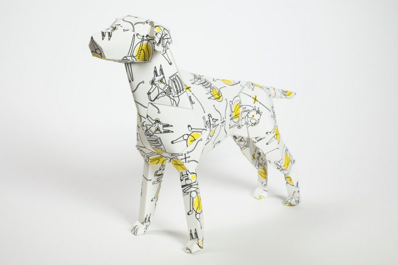 Side view of Gerald the LAzerian dog- a paper model of a dog