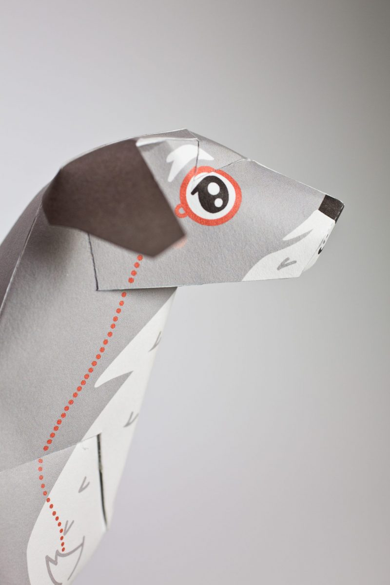 Close up of a paper dog 3D model. It shows the face of the dog on a side profile and it is styled like a old man dog with a monocle eye glass.