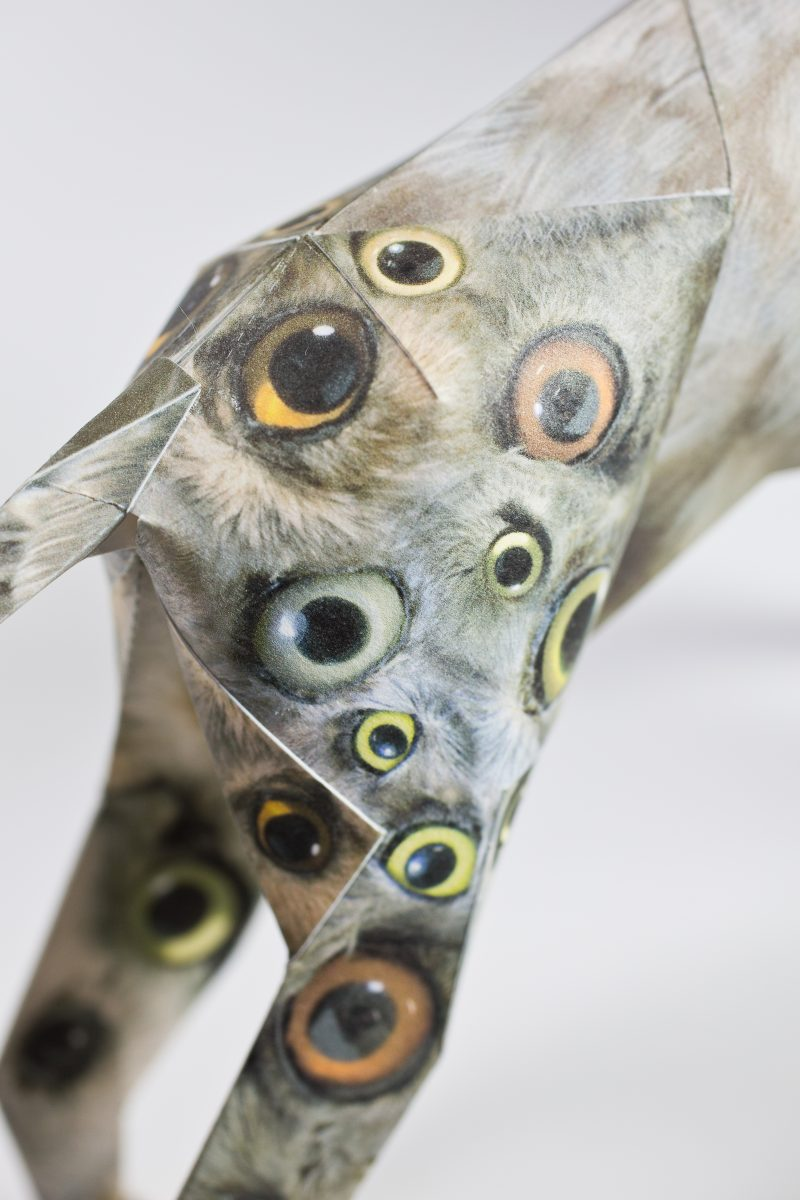 Close up of a paper dogs back legs that has a design on it consisting of clusters of numerous birds eyes . The design is part of a internationally renowned design exhibition featuring the mascot of a highly respected creative studio- Lazerian. Lazerian invited artists, creatives, illustrators and designers to customise the legendary design model mascot in their own signature styles. The design is by respected artist John Pusateri.