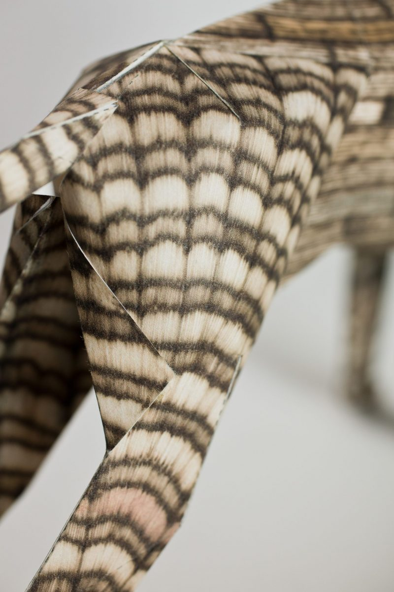 A close up view of a paper dog model showing its back legs. The pattern on it is a wood grain.