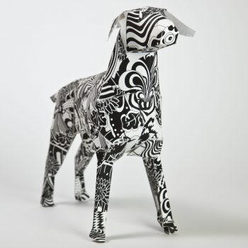 3D paper dog model sculpture