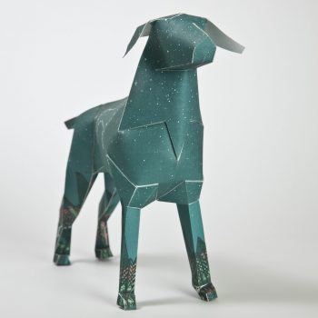 a paper dog 3D model with a blue/green design on it. It also has white circles with white lines connect the circles.