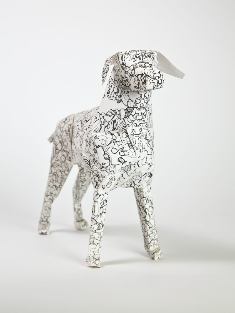 Main view of paper dog model