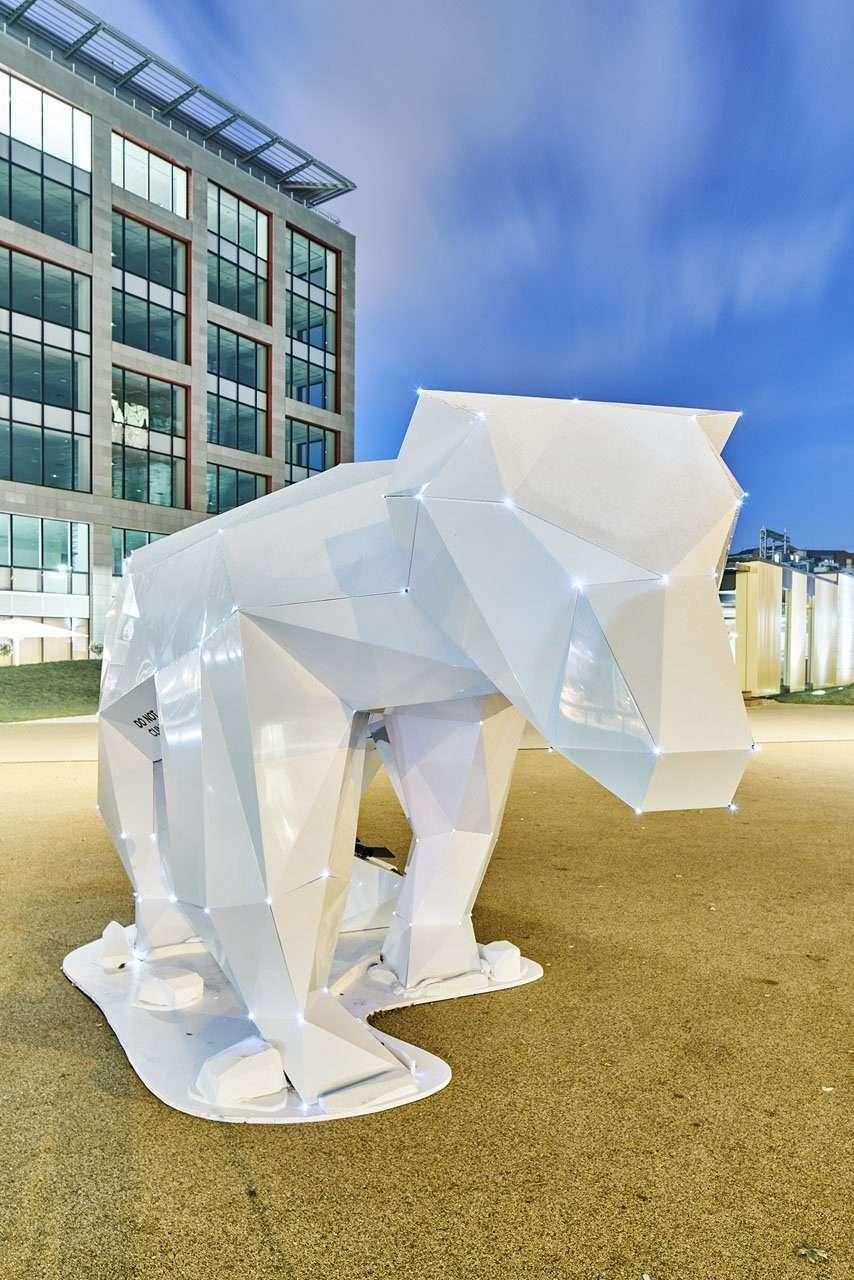 Aluminium polar bear public art sculpture by design studio Lazerian