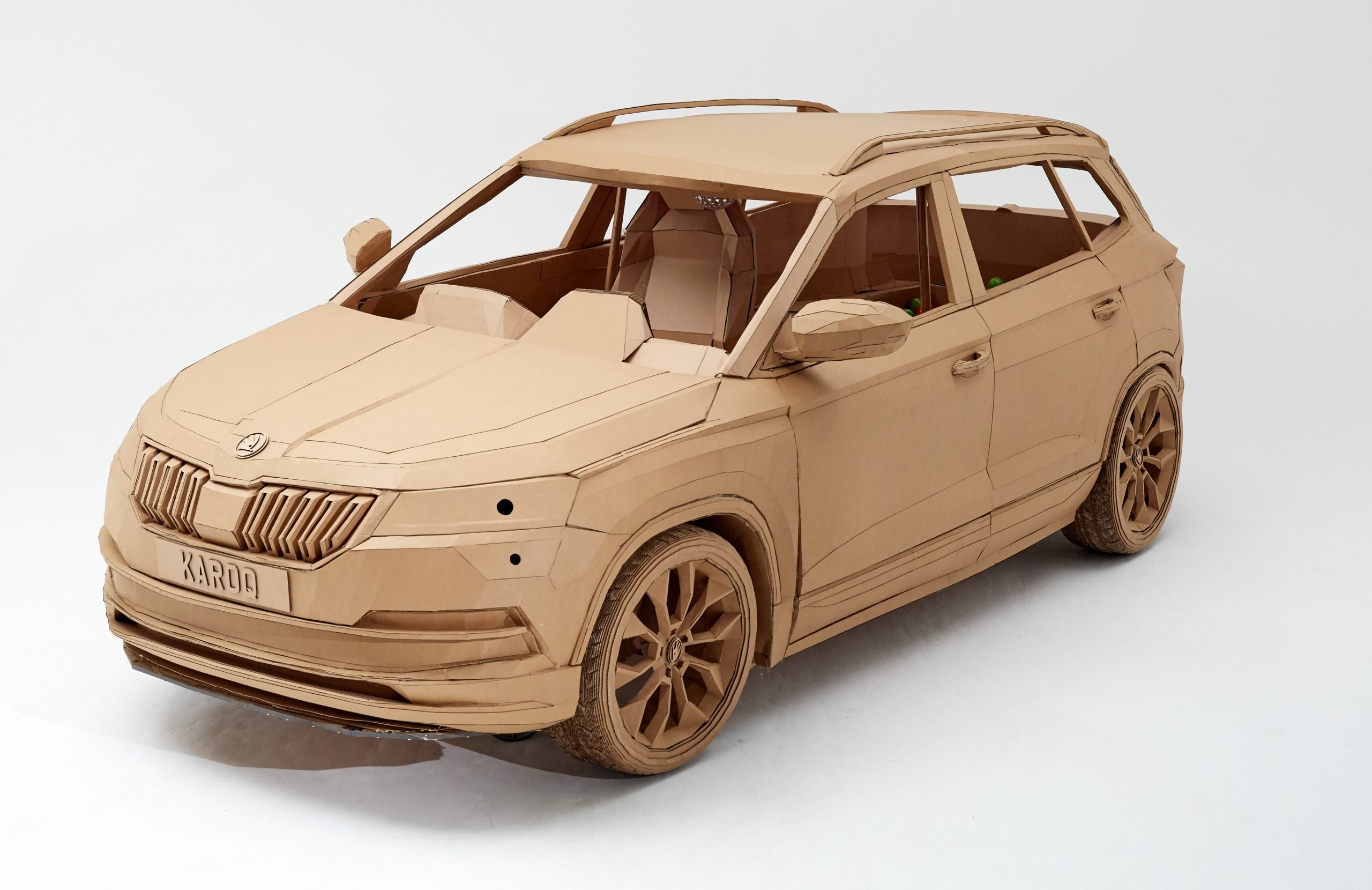 Cardboard car replica of Skoda Karoq by designer Lazerian