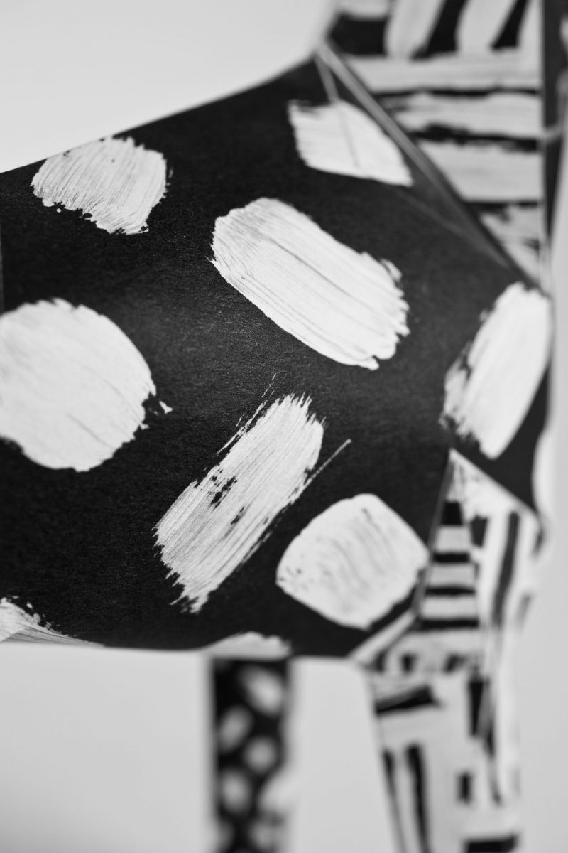 Close up of a black background on a paper dog model with white paint brush strokes over it