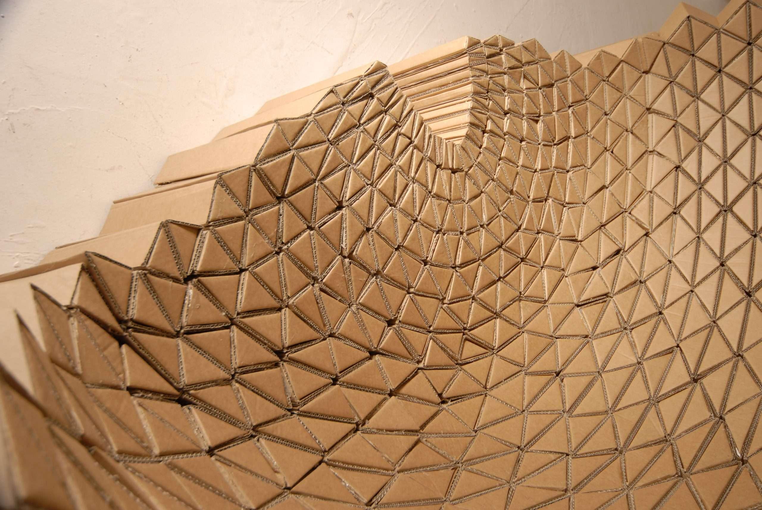 Close up of a creative cardboard sofa design by design studio lazerian