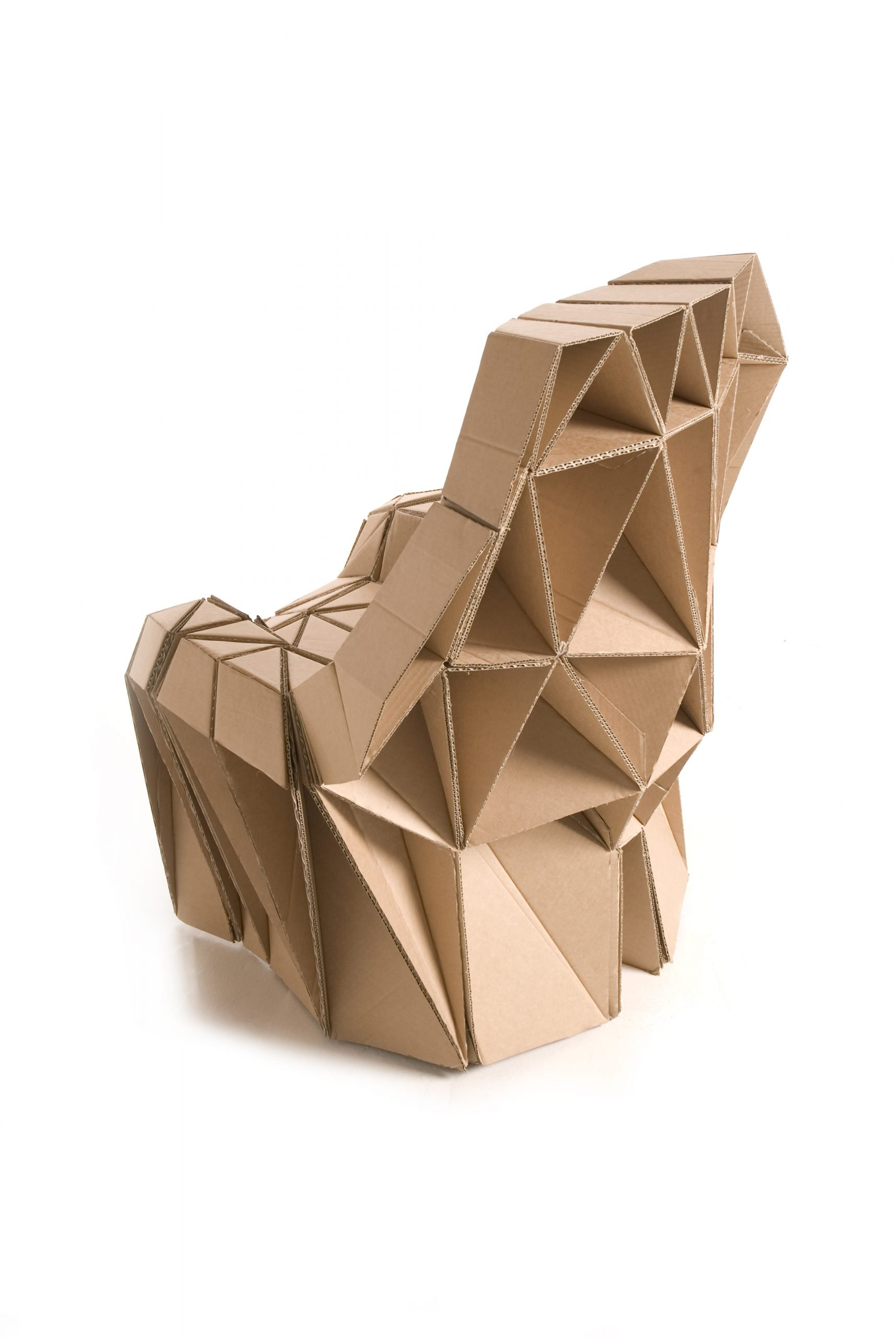 Back view of a cardboard chair made using individual triangular components. by design studio Lazerian