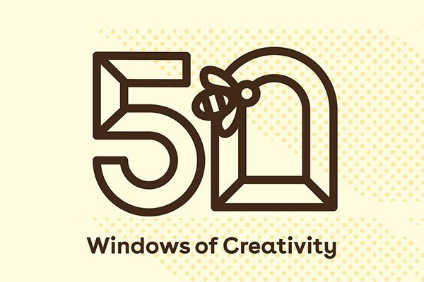 50 windows of creativity logo in brown with a light beige background. The purpose of this is to highlight Manchester design studio Lazerians involvement in the 50 windows of creativity project.