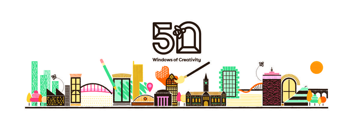 A promotional banner for a Manchester based creative project called '50 windows of creativity. The illustration 'has a colourful line drawing of building which are the skyline of Manchester and featured building you would associate with Manchester. In the centre is a large '50' and the wording 'windows of creativity in smaller font below.