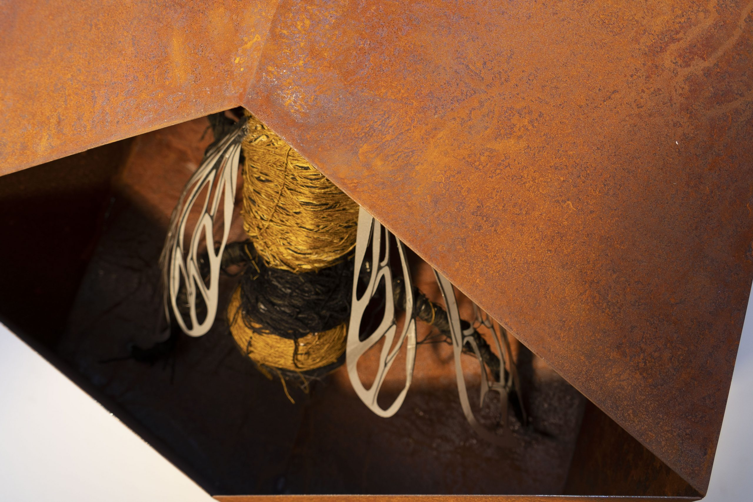Overworked bee is a contemporary sculpture with a bee made from cotton in a rusty enclosure
