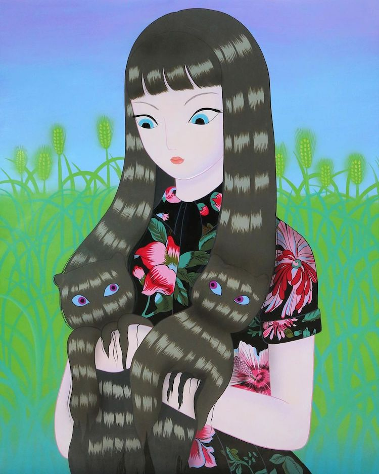 An illustration from the latest collection of Korean artist Jang Koal. There is a illustrated image of a lady with cat like eyes against a green grass background with a blue sky. The woman has long dark black hair but within the hair are two hidden cats. The purpose of this image is to show the type of work that Jang Koal creates
