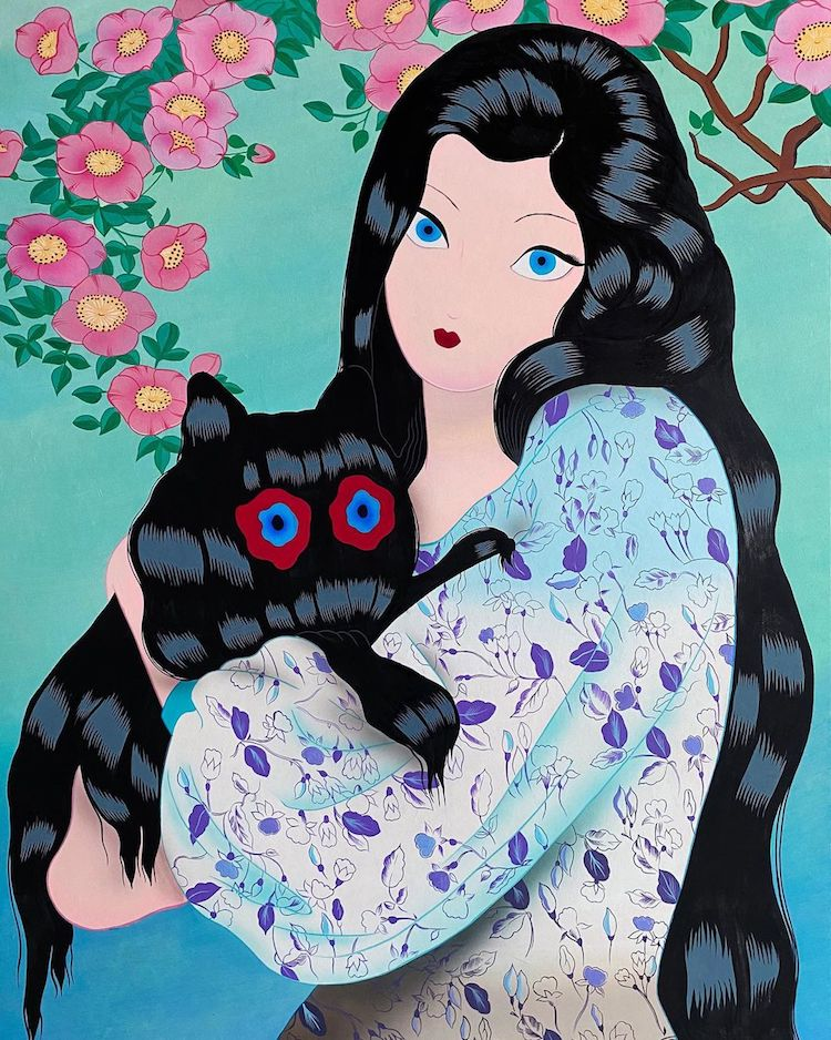 An illustration from the latest collection of Korean artist Jang Koal. There is a illustrated image of a lady with cat like eyes against a green/blue background with pink flowers on the top of the portrait. The woman has long dark black hair but within the hair are two hidden cats. The purpose of this image is to show the type of work that illustrator and artist Jang Koal creates