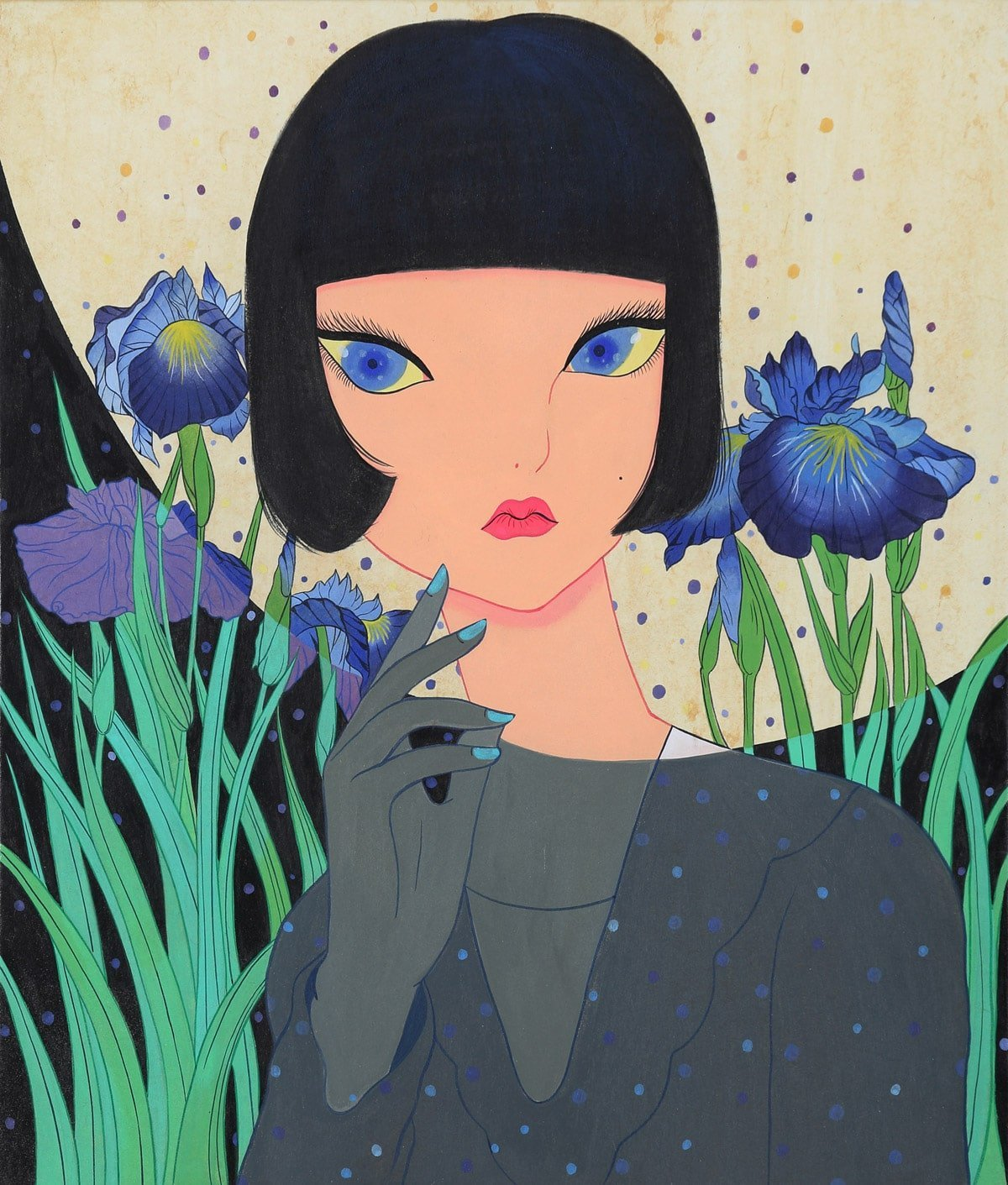 A art print by Korean artist Jang Koal. A lady with blue cat style eyes and a black bob with a fringe. There is a semi circle over her face and neck showing a lighter brighter environment with blue flowers in the background. The rest of the picture is shrouded in darkness.