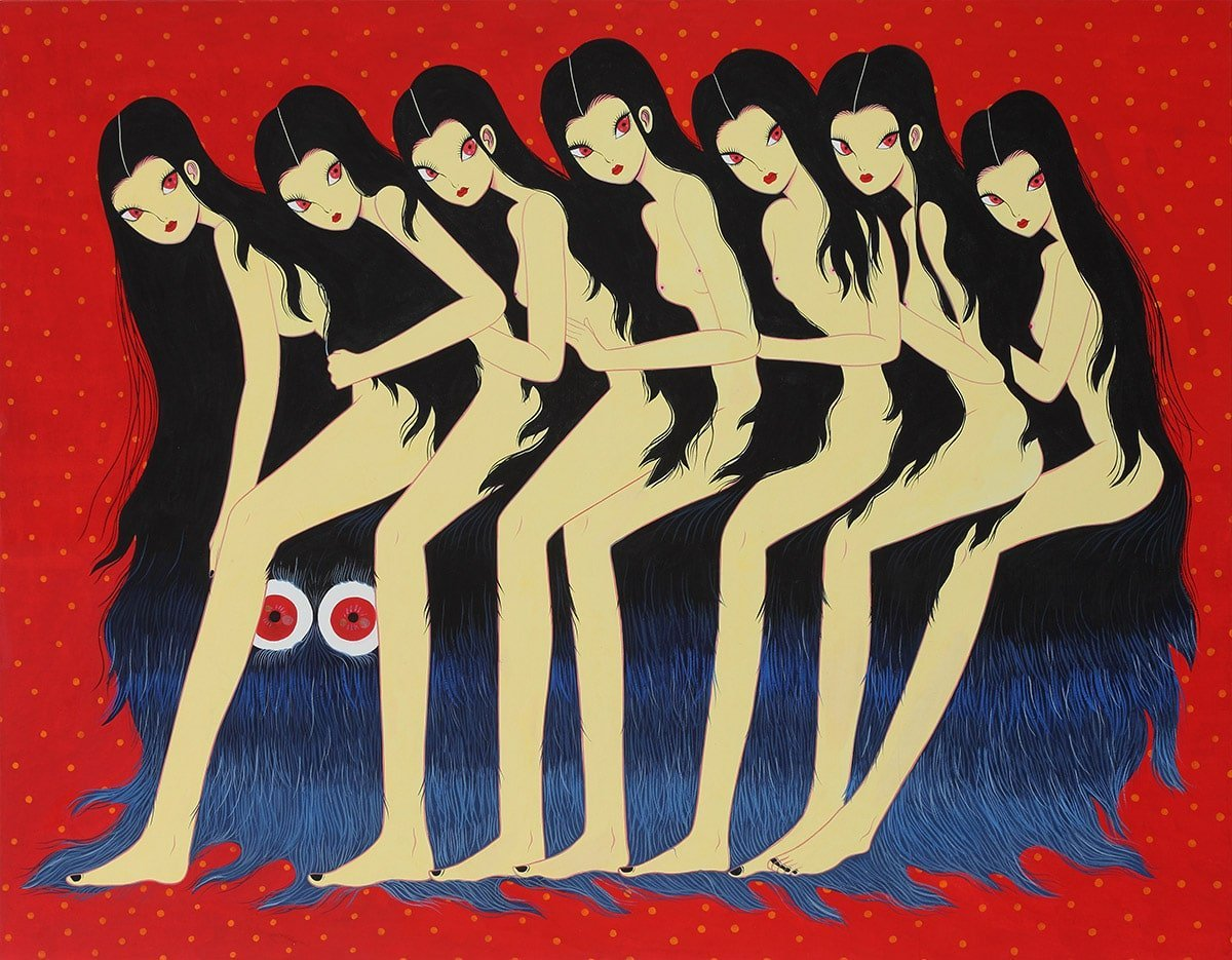 An art illustration piece by Korean artist Jang Koal. There are 7 naked ladies all identical with cat shaped red eyes and small pouty red lips. They are sat one behind the other on top of a furry haired blue creature with big red and white circular eyes.