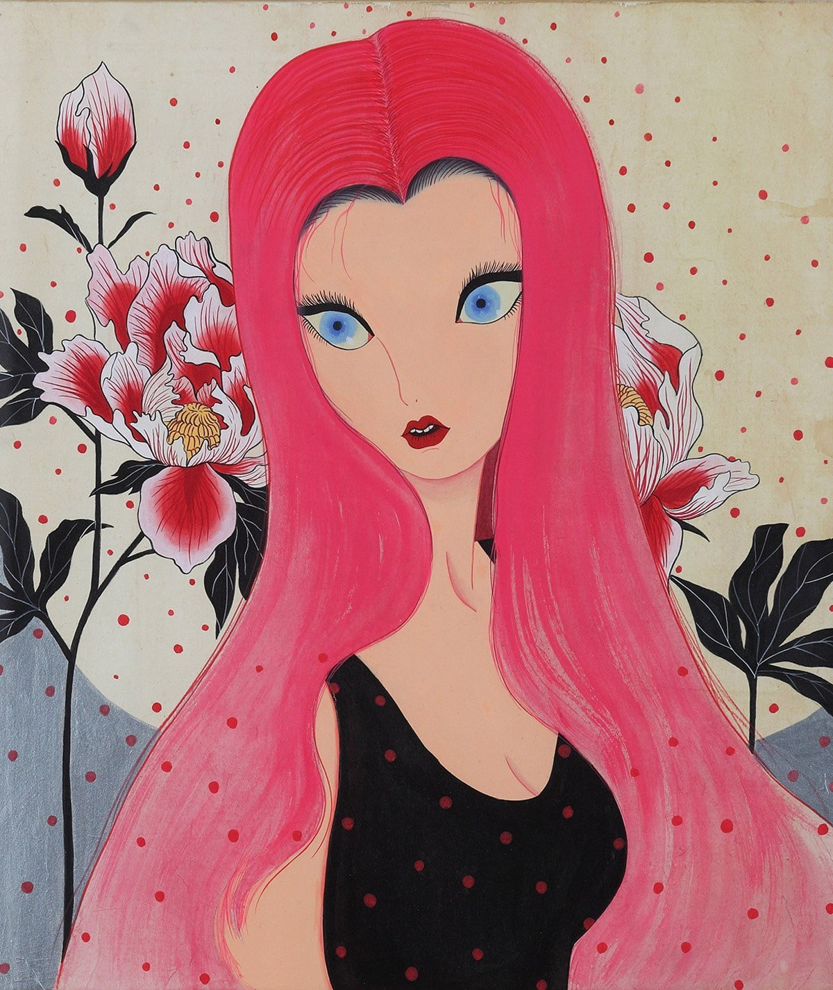 An image of an illustration by Korean artist Jung Koal of a lady with blue cat eyes with long pink hair. The background has pink flowers. Across the portrait are darker pink/red dots.